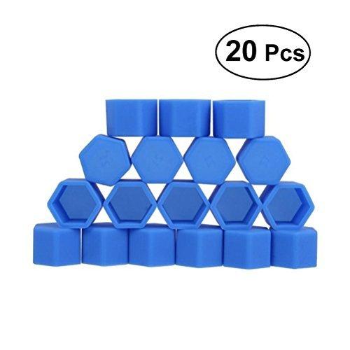 VORCOOL 20 morceaux voiture Écrou Tête bedeckungen Headwear Vis Écrou hexagonal Lug Cover Vis Capuchons de protection 17 mm (Bleu)
