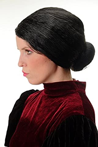 WIG ME UP ® - 69020-P103 Wig Ladies Halloween Carnival strictly tied back hairbun Governess Granny black