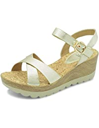 tresmode The Hamedge Gold Casual Sandals for Women from