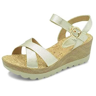 tresmode Women's Hamedge Metallic Gold Cross Strap Casual Sandals 4 UK/India /(37 EU)