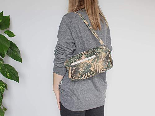 Kork Handtasche, Monstera Umhängetasche, vegan, schwarze Schultertasche, Geschenk, - 3