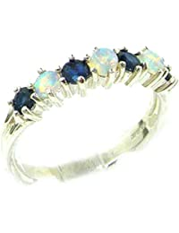 High Quality Solid Sterling Silver Natural Fiery Opal & Sapphire Eternity Ring