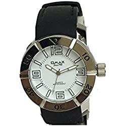 Omax Mens Wrist Watch Black Silicone Strap Silver with White Dial