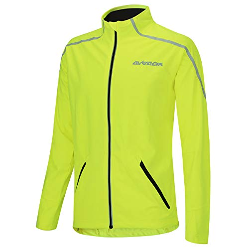 Airtracks Thermo Fahrradjacke AIR TECH/Laufjacke/Windstopper/Winddicht/WASSERABWEISEND/Reflektoren-NEON-M