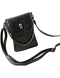 Fashion Girls PU Leather Wristlet Purse Wallet Case Skull Head Mini Cross-Body Bag For IPhone 6S / 6S Plus (Black)