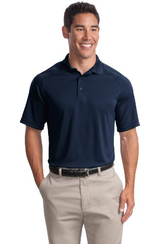 Sport-Tek Herren Button-down Poloshirt Blau - True Navy