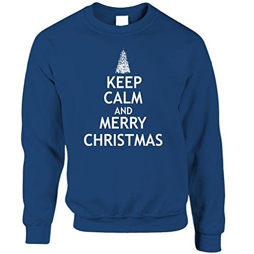 Weihnachten Unisex-Pullover Halten Sie Ruhe und Merry Xmas Royal Blue XX-Large (Royals Kleidung Baum)