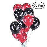 NUOLUX Ballons en latex noir et rouge à points blancs, 50 pcs