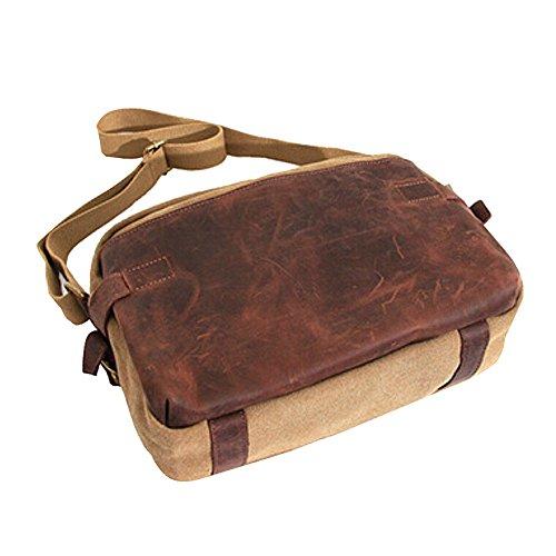 Paonies Unisex Damen Herren Leder Leinwand Tasche Handtasche Umhängetasche Schultertasche (Khaki) Khaki
