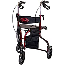 Premium Rollator Faba Care by Antar, 3 Räder, faltbar, Sitz und Rückengurt, abnehmbare Taschen, Vollausstattung