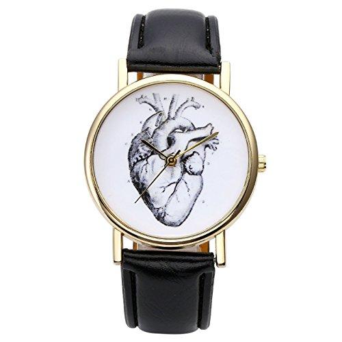 JSDDE Uhren Set,Vintage Damen Armbanduhr Elefant+Organ Herz+Blumen Damenuhr Basel-Stil Analog Quarzuhr 3x Uhren - 6