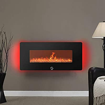 Famgizmo Electric Fireplace Heater,1800W,Wall Mounted,Crystals LED Flame Effect,7 Color,7 Day Programmable Remote Control,0.5-6H Timer,1.8KW Electric Fire Heater with RGB Backlight