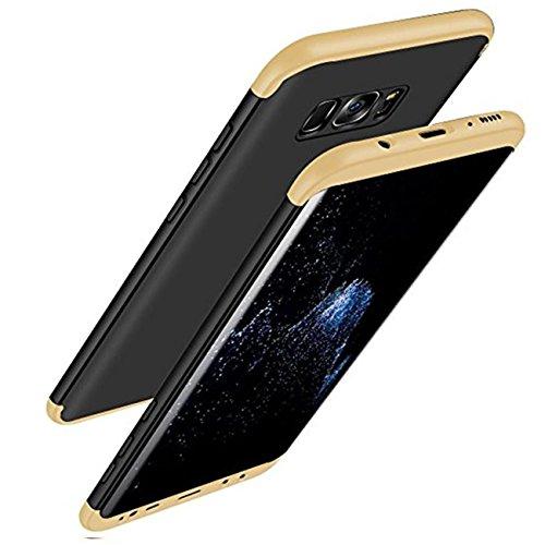 Qissy® Carcasa Samsung Galaxy S8 ,3 in 1 Todo incluido Anti-Scratch Ultra Slim Protective 360 PC Case Cover para Samsung Galaxy S8 5.8'' (Dorado+negro)