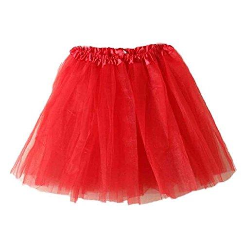 YEBIRAL Damen Röcke Mode Basic Solide Vintage kurzen Tutu Tüllrock Ballettrock Schöne Niedlich Skater Röcke Faltenrock MiniPetticoat(One Size,Rot)