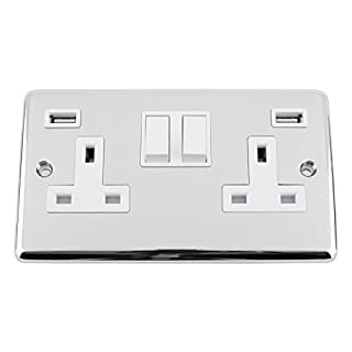 A5 Products USB Socket 2 Gang - Polished Chrome - Classic - White Insert Plastic Rocker Switch - 13A Double Wall Plug USB Socket 3.1