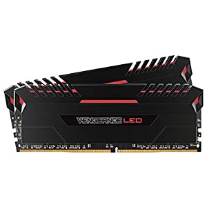Corsair Vengeance LED 32 GB (2 x 16 GB) DDR4 3000 MHz C16 XMP 2.0 Enthusiast LED Illuminated Memory Kit - Black with Red LED Lighting