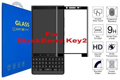 What@Store BlackBerry KEY2 - Panzerglas Schutzfolie [3D Gebogen Full Deckung] 3D Curved Kante zu Kante Gehärtetem Glas Displayschutzfolie mit 9H Härte für BlackBerry KEY2 (Schwarz)