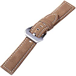 New Suede Genuine Leather Military Watch Strap Band Army Style 20mm ,Caramel Brown