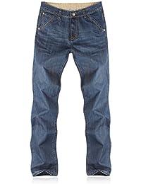 Demon&Hunter Loose Fit Hombre Pantalones Vaqueros Relaxed Jeans Azul Oscuro S8L09