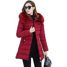 NiSeng Mujer Abrigo Chaqueta Slim Fit Espesar Pelaje Collar Parka Con Capucha Manga Larga Chaquetas Outerwear