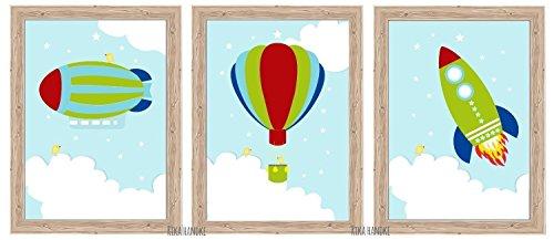 "Kinderbilder Set \""ZEPPELIN-BALLON-RAKETE\"" A4 / A3 - Poster Kinderzimmer Babyzimmer"