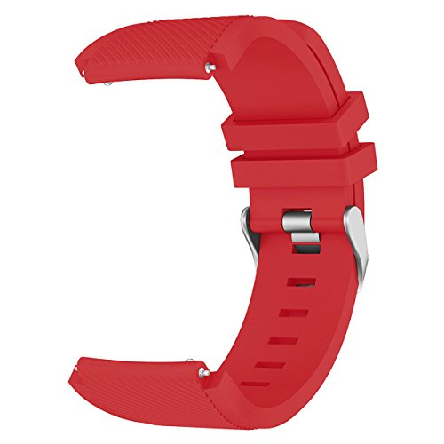 AMERTEER Samsung Gear S3 Frontier / Classic / Moto 360 2nd Gen 46mm Watch Armband – Silikon Sportarmband Uhr Band Strap Erstatzband Uhrenarmband für Samsung Gear S3 Classic Samrtwatch, Nicht für Gear S2 Classic, Red - 3