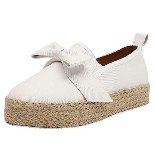 MakefortuneEspadrille Flats für Damen, Slip on Espadrille Loafers Sneakers Schuhe Schwarz Weiß Blau Rot Damen Canvas/Faux-Suede/Leder Espadrilles für Damen -
