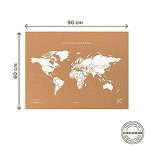 Miss Wood Map XL – Mapa del mundo de corcho, 60 x 90 cm, Blanco