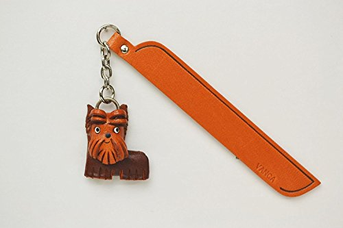 Yorkshire terrier Leather Dog charm Bookmarker Vanca fatto a mano in Giappone...