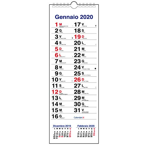 Calendario 2020 Santi.Calendario 2020 Da Muro Olandese Slim Con 3 Mesi Santi E Lune 15x42 Cm