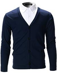 FLATSEVEN Cardigan Elegante Slim Fit Hombre