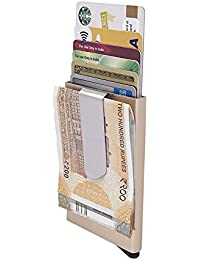 Slim Metal RFID Card Wallet By House of Quirk Automatic Pop Up Card Wallet with Metal Money Clip