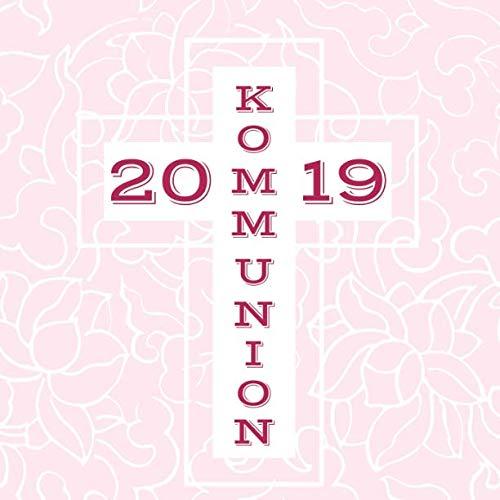 Meine Kommunion: Gästebuch zum Eintragen von Glückwünschen   Erinnerungsbuch an die erste heilige Kommunion   21 x 21 cm   Geschenkbücher   Kreuz rosa