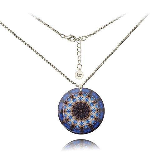 Halskette Kette Mit Runden Mitternachtsblau Anhänger Kaleidoskop von Dragon Porter