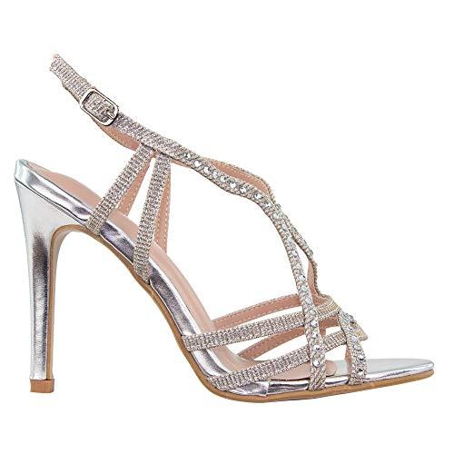 Tulipano-sandalo gioiello in lurex e strass, tacco stiletto alto cm. 10,5, argento/nero/oro/rame (36 eu, argento)