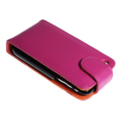 wortek Premium Flip Case Apple iPhone 4 / 4S Tasche Weiß iPhone 3G / 3GS - Pink