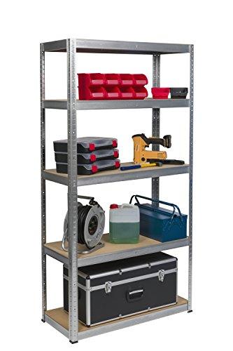 Kreher Holz Metall Schwerlastregal. Mit fünf verstellbaren Böden, belastbar bis zu max. 175 kg pro Boden. Teilbar, auch als Werktisch. BxTxH 90 x 40 x 180 cm.