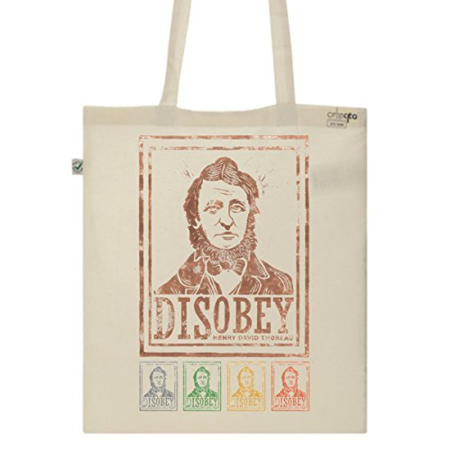 Tote Bag Imprimé Ecru - Toile en coton bio - Disobey Henri David Thoreau