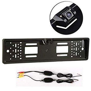 Camara trasera - SODIAL(R) Camara trasera inalambrica Sensor de aparcamiento placa de numero inalambrico 170 grados IP67