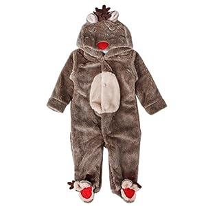 SMARTLADY - Invierno Ciervo Romper Pijama de Bebé Niños Niñas,Cálido Marrón Abrigo con Capucha 11