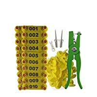 Millie Sheep Ear Tag Plier & 001-100 Numbered Goat Ear Tags(Number Plastic Livestock Ear Tag Animal Tag) & 2Pcs Ear Tag Pins,Yellow or Green
