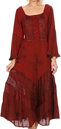 Rot Floral Kimono (Sakkas 15223 - Mirabel Stonewashed Korsett Stil Floral Emboridery Kimono Ärmel Kleid - rot - S / M)