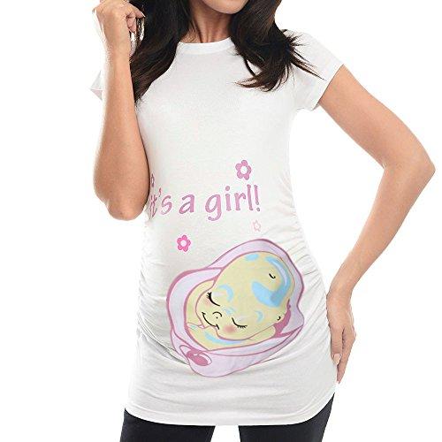 Mutterschaft Kurzarm T-Shirt Umstandsmode It's a Boy/Girl Drucken Frauen Casual Sommer Tee Umstandstop Blusa Mama Umstandsshirt Schwangerschaft Kleidung ((It's a Girl) Weiß, M)