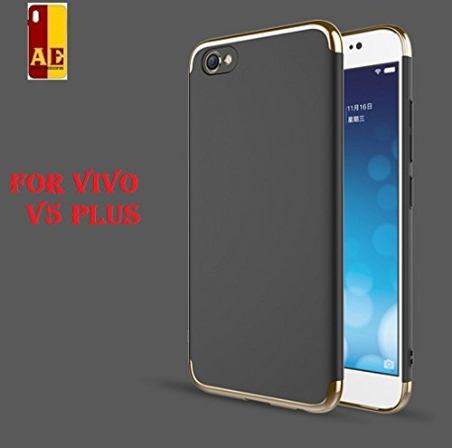 AE Mobile Accessories Luxury 3 In 1 Hard Plastic PC Electroplate Matte Back Cover For Vivo V5 Plus Black
