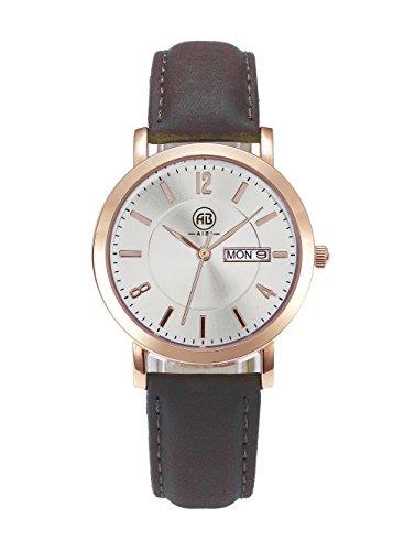 DMwatch Damen Uhren Braun Leder Armband Rose Gold Lünette 36MM Silber Watchcase Mit Datum 3ATM Mode Wasserdicht Analoganzeige Quarz Damenuhren
