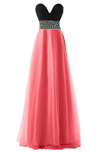 KekeHouse® Robe Bustier Bicolor Longue de Cérémonie Soirée Mariage Femme fille Robe de demoiselle d'honneur Corail