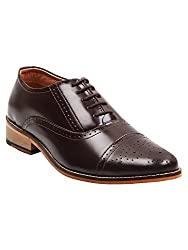 BuckleUp Formal Mens Leather Lace Up Brown Shoes