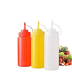 Godskitchen 24 Ounce (Set of 3)- Clear, Red, Yellow Plastic Squeeze Squirt Condiment Bottle with Twist On Cap Lid - top dispensers for ketchup mustard mayo hot sauces olive oil - bpa free bbq set