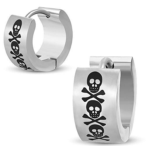 BlackAmazement 2er Set Paar Klapp Creolen Ohrringe Edelstahl Silber Pirat Totenkopf Skull ()