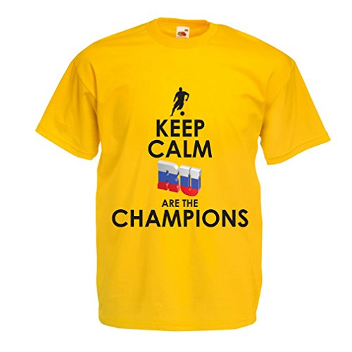 lepni.me N4510 T-Shirt da Uomo Keep Calm, Russian Are The Champions (XX-Large Giallo